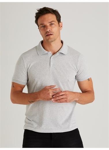 Dufy Zümrütı Polo Yaka Erkek Tshirt - Slim Fit Gri